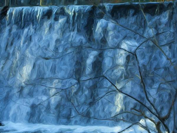 Poster featuring the painting Cold Day Cold Water Fall  Winter In Ny by Jonathan Galente