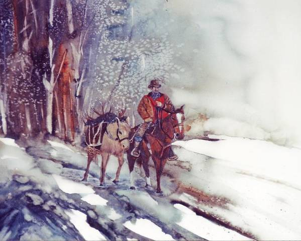 Horse And Rider Poster featuring the painting Cold Hunt by Lynne Parker