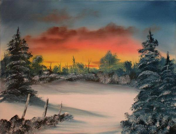 Oil Painting Poster featuring the painting Cold Morning Sunrise by Larry Hamilton