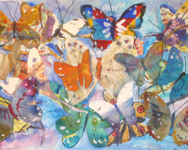 Collage Poster featuring the painting Collage Of Butterflies by Joyce Kanyuk