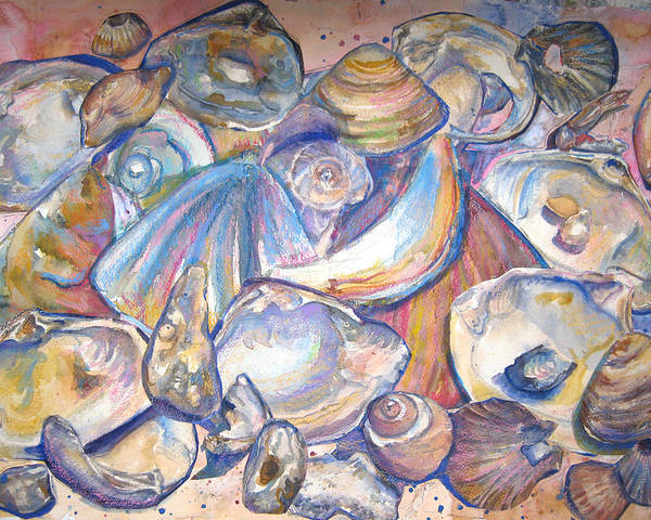 Collage Poster featuring the painting Collage Of Shells by Joyce Kanyuk