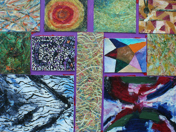 Abstract Images Collage Poster featuring the painting Collage with clown by Biagio Civale