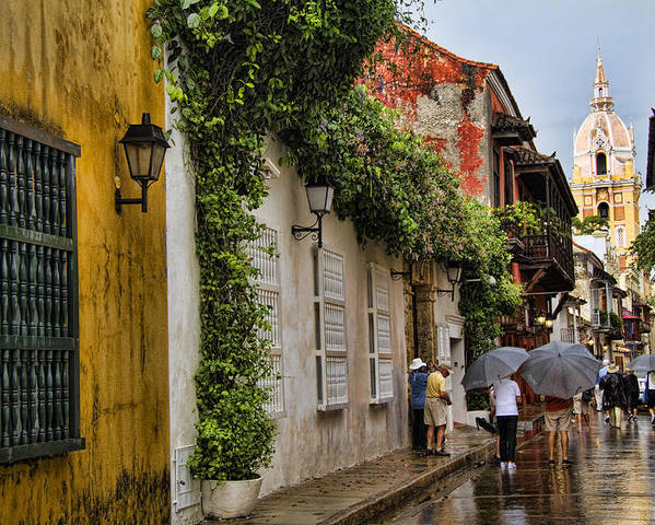 Cartagena Poster featuring the photograph Colonial Buildings In Old Cartagena Colombia by David Smith