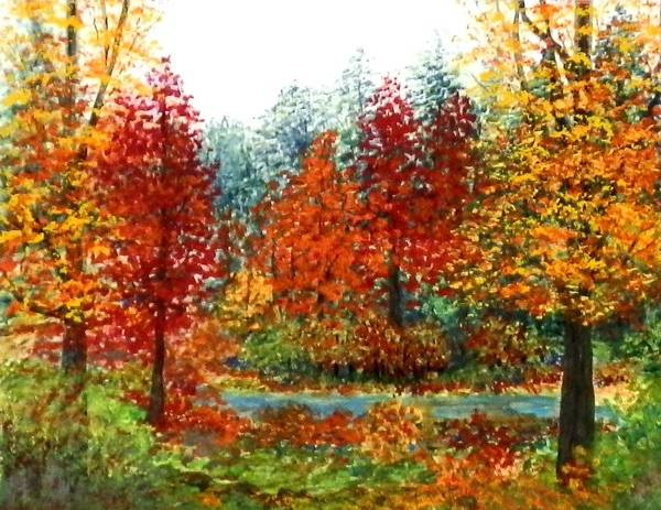 Poster featuring the painting Color Burst Forest by Louise Miller