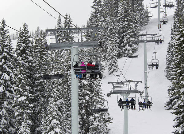 Chairlift Poster featuring the photograph Colorado Chair Lift During Winter by Brendan Reals