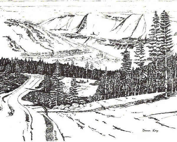 Colorado Mountains Snow Ink Drawing Poster featuring the drawing Colorado Mountain Foothills by Donn Kay