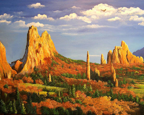 Connie Tom Poster featuring the painting Colorado Red Rocks by Connie Tom