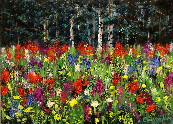 A Painting A Day Poster featuring the painting Colorado Rockies Wildflowers by Connie Tom