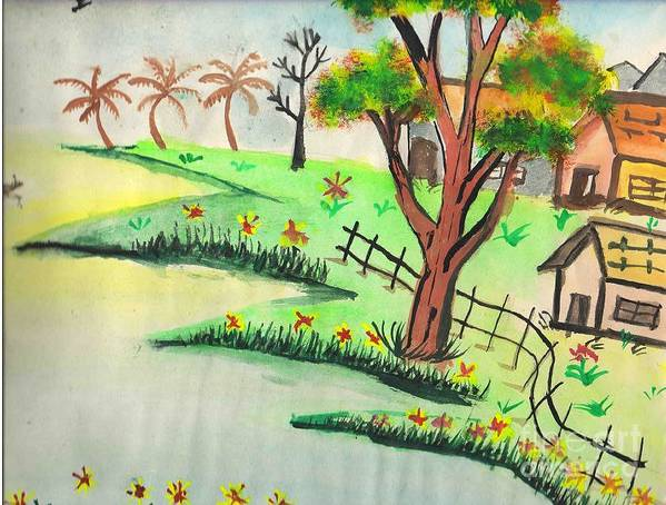 Beautiful Landscape Poster featuring the painting Colored Landscape by Tanmay Singh