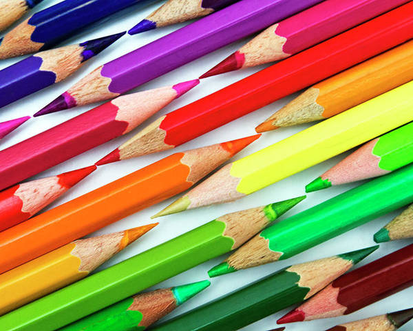 Horizontal Poster featuring the photograph Colored Pencil Tips by Image by Catherine MacBride