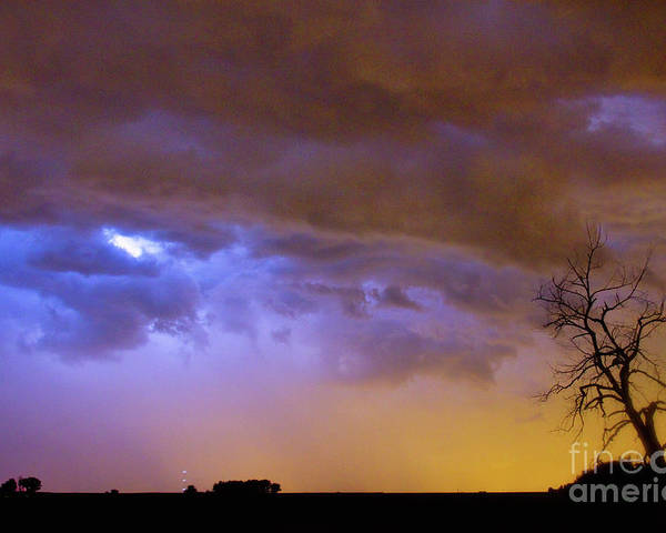 Weld County Poster featuring the photograph Colorful Cloud To Cloud Lightning Stormy Sky by James BO Insogna
