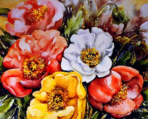 Beauty Of Flower Poster featuring the painting Colorful Corner 1 by Marta Styk