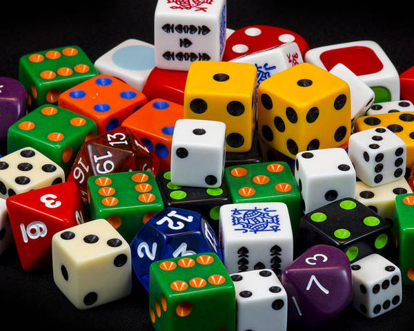 Dice Poster featuring the photograph Colorful Dice 2 by Robert Storost