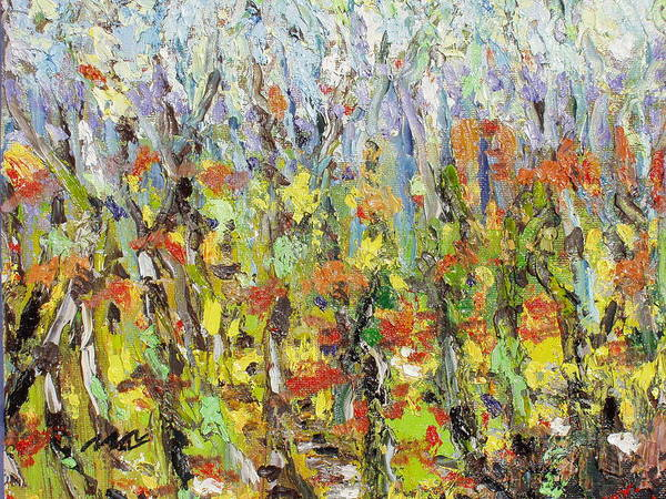 Autumn Abstract Paintings Poster featuring the painting Colorful Forest by Seon-Jeong Kim
