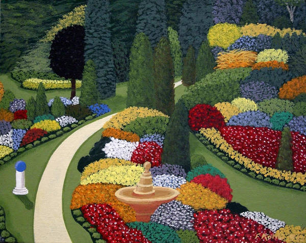 Landscape Paintings Poster featuring the painting Colorful Garden by Frederic Kohli