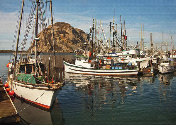 Morro Bay Poster featuring the digital art Colorful Harbor by Sharon Foster