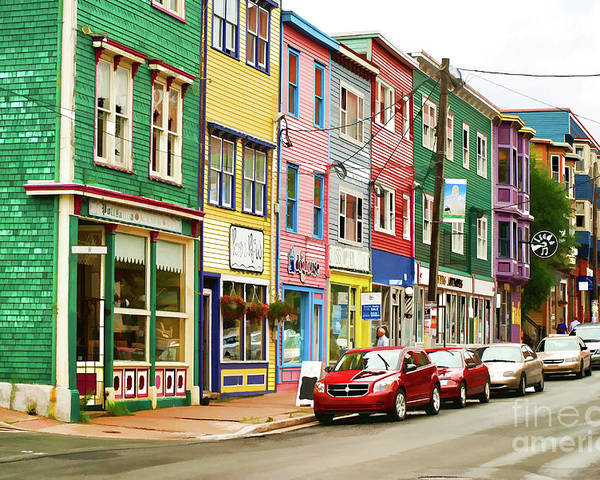 House Poster featuring the digital art Colorful Houses In St Johns In Newfoundland by Les Palenik