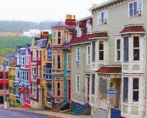 St.john's Poster featuring the digital art Colorful Houses In St. Johns, Nl by Les Palenik