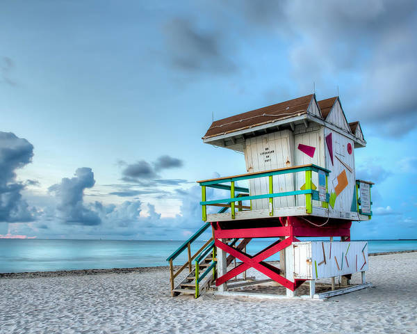 Miami Poster featuring the photograph Colorful Lifeguard Tower by Coco Moni