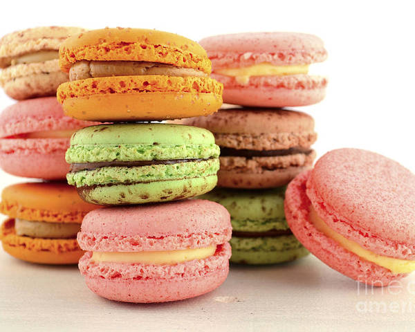 Bake Poster featuring the photograph Colorful Macaroons by Milleflore Images