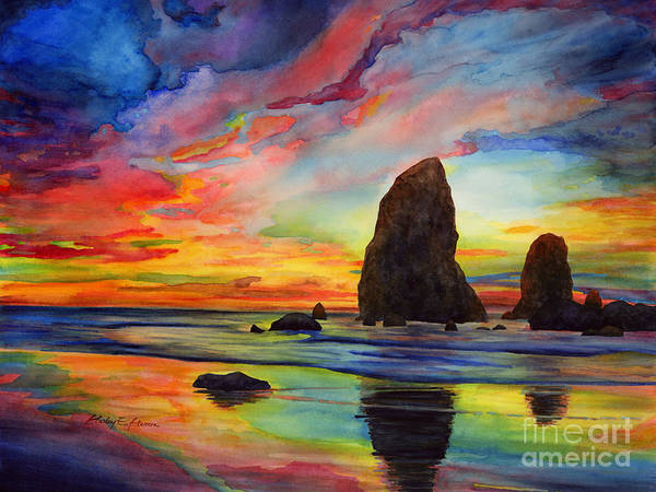 Sunset Poster featuring the painting Colorful Solitude by Hailey E Herrera
