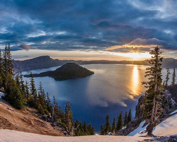 Crater Lake Poster featuring the photograph Colors Of The Spring Morning At Discovery Point by Greg Nyquist