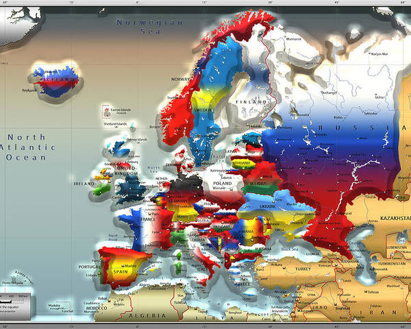 Colors Of The World - Modern Portrait Of Modern Europe - 3d Map ...