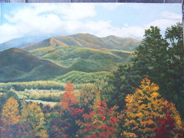 Fall Landscape Poster featuring the painting Colors On Parkway by Audrie Sumner