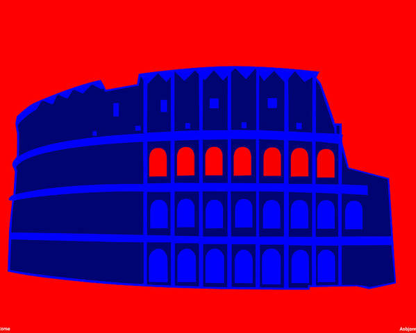Colosseum Poster featuring the digital art Colosseum by Asbjorn Lonvig