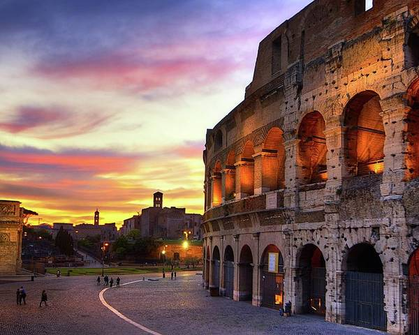 Horizontal Poster featuring the photograph Colosseum At Sunset by Christopher Chan