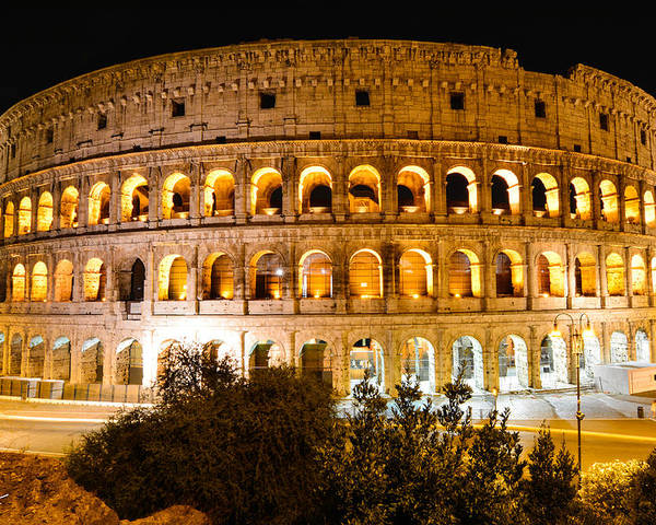 Night Poster featuring the photograph Colosseum by Russell Wells
