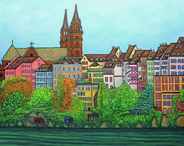 Lisa Lorenz Poster featuring the painting Basel, Colours of Basel by Lisa Lorenz
