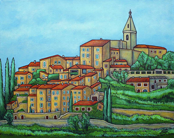 Provence Poster featuring the painting Colours of Crillon-le-Brave, Provence by Lisa Lorenz