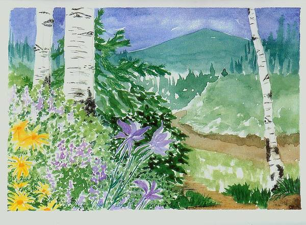 Rocky Mt Columbine Poster featuring the painting Columbines by Kelly Miller