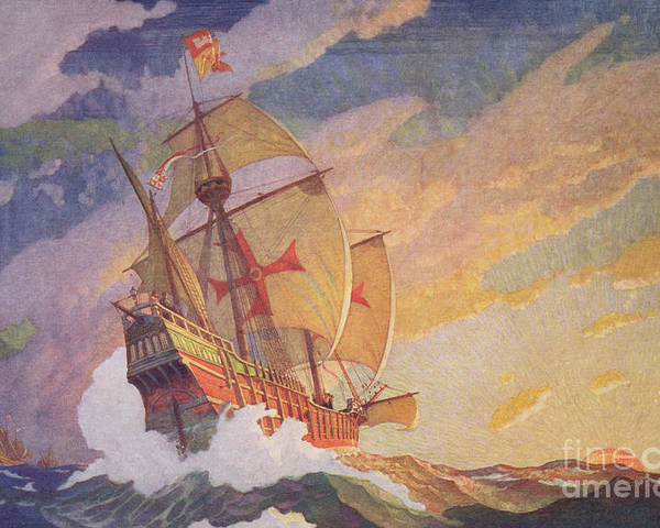 Columbus Crossing The Atlantic Poster featuring the painting Columbus Crossing The Atlantic by Newell Convers Wyeth