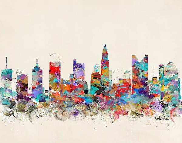 Columbus Ohio Skyline Poster featuring the painting columbus Ohio skyline by Bri Buckley