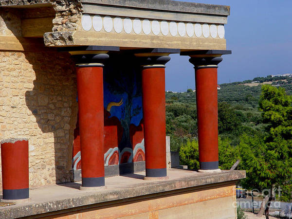 Red Columns Poster featuring the photograph Columns Of Knossos Greece by Nancy Bradley