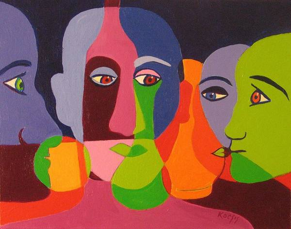Faces Poster featuring the painting Combinations by Rollin Kocsis