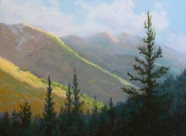 Mountains Poster featuring the pastel Comes The Dawn by Debra Mickelson