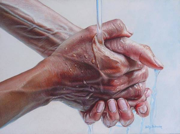 Hands Poster featuring the drawing Coming Clean by Holly Bedrosian