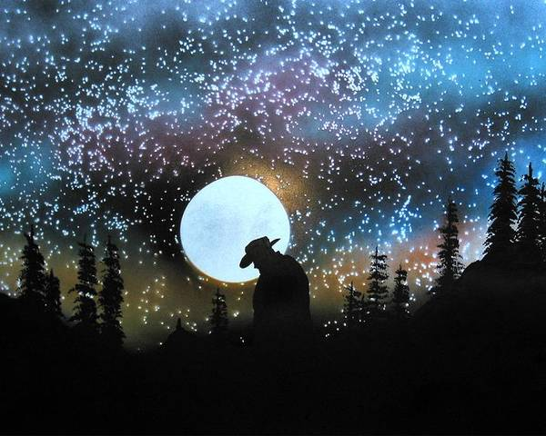 Silouette Cowboy Horse Landscape Moon Stars Night Poster featuring the painting Coming Home by Ed Moore