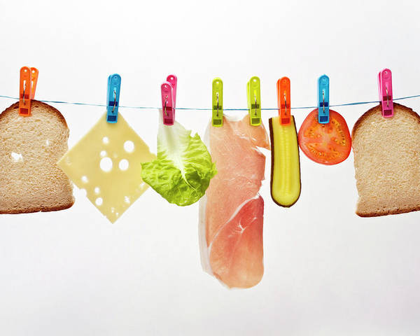 Horizontal Poster featuring the photograph Components Of Sandwich Pegged To Washing Line by Image by Catherine MacBride
