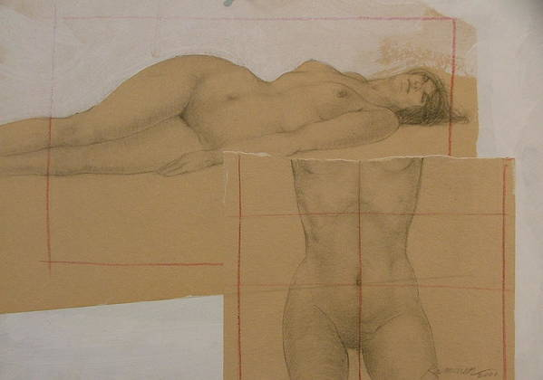Nude Poster featuring the painting Composite Female Nude by Gary Kaemmer