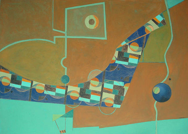 Abstract Art Poster featuring the painting Composition IIi-07 by Maria Parmo