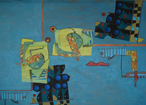 Abstract Art Poster featuring the painting Composition Xx 07 by Maria Parmo