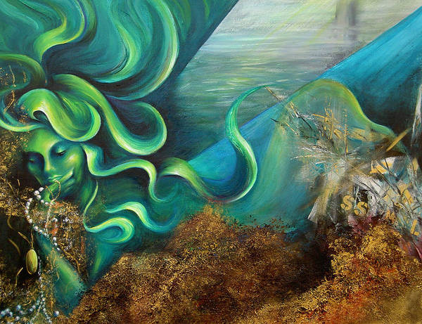 Ocean Poster featuring the painting Confessions Of A Mermaid by Dina Dargo