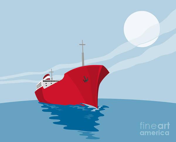 Ship Poster featuring the digital art Container Ship Cargo Boat Retro by Aloysius Patrimonio
