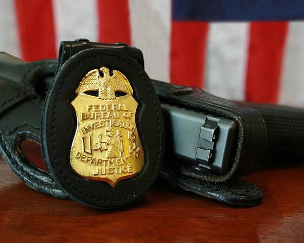 History Poster featuring the photograph Contemporary Fbi Badge And Gun by Everett