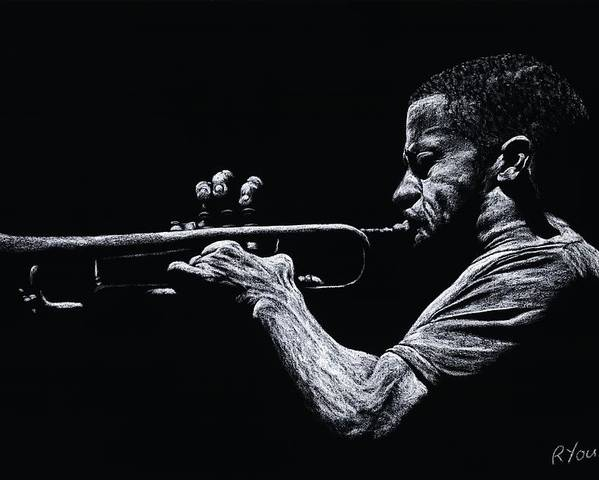 Musician Poster featuring the pastel Contemporary Jazz Trumpeter by Richard Young