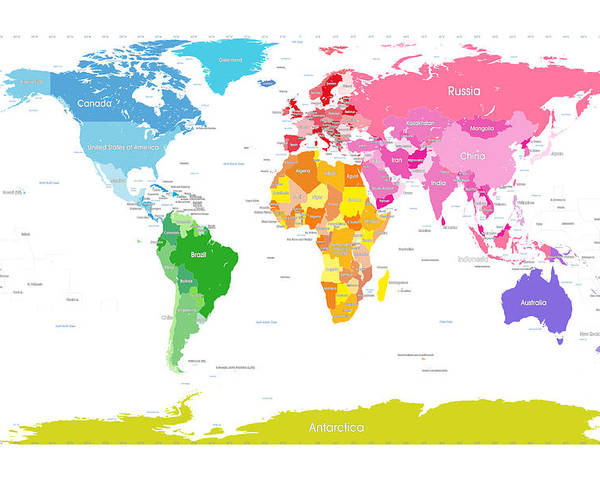 Continents World Map Large Text For Kids Poster
